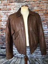 Vintage EXPRESSIONS Leather Bomber Jacket Coat Zip Up Pockets BRN Men's 38-40 M