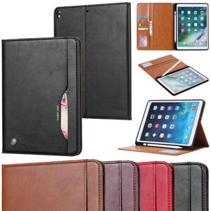 Folio PU Leather Stand Case Cover with Card Pocket &Pencil Holder for Apple iPad