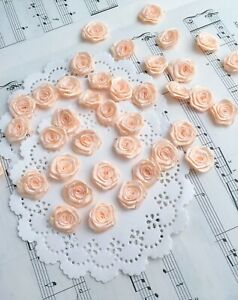 Blush Roses,Ribbon Roses,Mini Rosettes,Fabric Flowers,Small Craft Roses Sewing