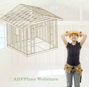 10X10 GABLE ROOF BACKYARD UTILITY SHED PLANS CD, PROFESSIONAL DESIGN CD
