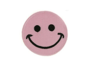 Wappenschild Patch Brode Zum Aufbügeln Smiley Rosa Ø 7 CM Peterandclo 7469