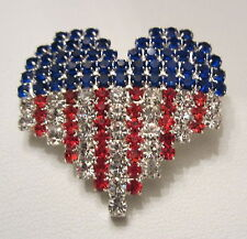 PATRIOTIC USA  RED WHITE AND BLUE RHINESTONE HEART FLAG PATTERN  BROOCH  PIN