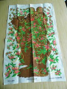 Vintage 1970s Tea Towel Oxfam Honeysuckle Bear Irish Linen