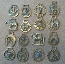 16 vintage horse brasses mixed mainly animals. heavy horse harness decoration
