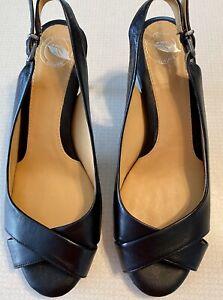 Nurture Slingback Heel Pump Black Leather Open Peep Toe New  Size 7.5