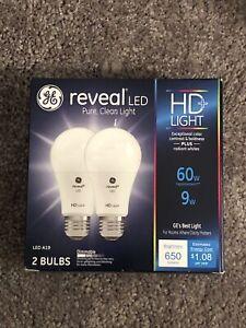 2 PACK, GE Lighting Reveal HD LED 9-watt 60W Replacement Warm 650 Lumen A19 BULB
