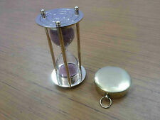 Nautical Brass Sand Timer Vintage Lid Compass Collectible Gift