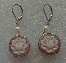 Silver pearl Earrings Women #2 Pink Rose Flower .925 Sterling