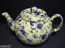 Heron Cross Pottery Ivy Rose Blue Chintz English 6-8 Cup Tea Pot