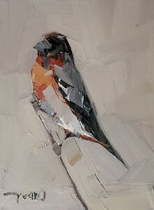 JOSE TRUJILLO Oil Painting IMPRESSIONISM Contemporary COLLECTIBLE BIRD 9X12 ART