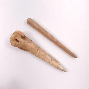 "2 Bone Awls Native American Artifacts Eastern Montana South Dakota 3"" Long"