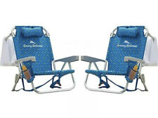 2 Pack Tommy Bahama Beach Chair Padded Backpack Side Pouch Drink Holder Blue