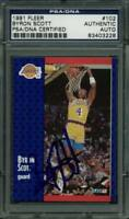 Lakers Byron Scott Authentic Signed Card 1991 Fleer #102 PSA/DNA Slabbed