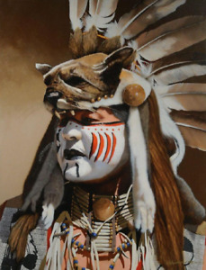JD Challenger Sign of the Cat Shoshone War Chief AP 1/10 Giclee Print 44x56