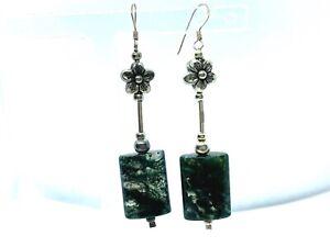 Long Vintage Sterling Silver Moss Agate Dangle Drop Earrings