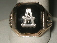 "1936 10K Yellow Gold Onyx Signet Initial Ring ""A, B, K, L, N, P, S, or T"" Sz8.25"