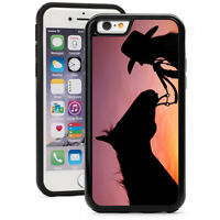 For iPhone X SE XS Max XR 7 8 Plus Shockproof Hard Case 903 Cowgirl Horse Sunset