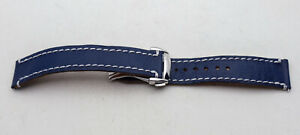 Handmade Custom Blue Saffiano Leather Watch Strap 20mm Deployant Clasp