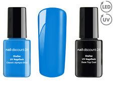 SHELLAC Spar SET olympia blue Base Top Coat UV LED Farb Gel Polish Nagel Blau