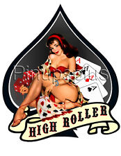 Pinup Girl Sticker Waterslide Decal Gambling Spade High Roller Cards and Dice