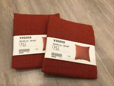 "(Lot of 2) Ikea Vigdis Pillow Cushion Cover 100% Ramie 20"" x 20"" Red-Orange Rust"