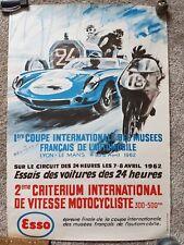 Original 1962 LE MANS Poster 2nd Critérium International de vitesse motocycliste