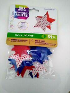 Felt Foam Star Peel Stick Stickers Patriotic Red White Blue Solid/Pattern 52 Pcs