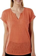 Dept. 222 Solid Linen Top Short Sleeve Shirt In Coral Orange Small NWT MSRP $36