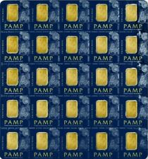 Sheet of 20 - PAMP Suisse 1 Gram Gold bars with certificate- lady Fortuna