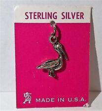 VTG NOS Sterling Silver Travel Charm Seashell Shell Conch 3D Pelican Bird Beach