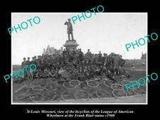 OLD LARGE HISTORIC PHOTO OF St LOUIS MISSOURI, LEAGUE OF AMERICAN CYCLIST c1900