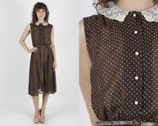Vintage 70s Brown Polka Dot Dress Sheer Floral Lace Collar Boho Hippie Midi Mini