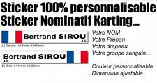Sticker autocollant nom rhésus drapeau france karting moto voiture rallye etc..