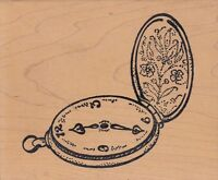 "pocket watch bugawamps Wood Mounted Rubber Stamp 4 1/2 x 4""  Free Shipping"