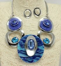 Silver and Blue FASHION Necklace Set