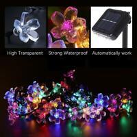 50LED Solare Luci Fiori Natale Illuminazione Esterna Festa Decorazione Giardino