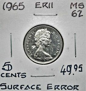 Struck Through Error - 1965 Canada 5 Cents