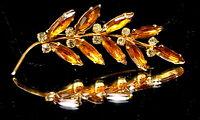 Art Deco Amber Glass Leaf brooch.