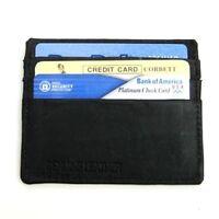Black Genuine Leather Men's Thin Wallet Front Pocket 6 Card Holder