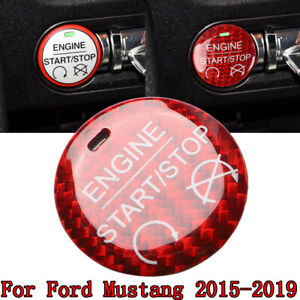 Carbon Fiber Red Car Engine Start Button Cover Trim For Ford Mustang MK6 2015-19