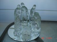 Windsor Collection Clear Glass Nativity Set Round Mirror Base Christmas xmas