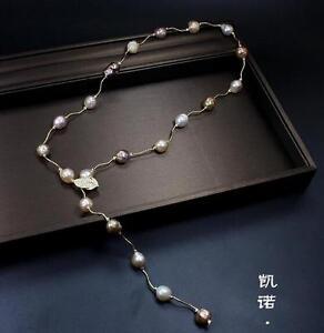 new design 13-14mm south sea baroque multicolor pearl necklace 36 inch 925silver