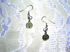 NEW SOLID SILVER PEWTER LIFE SYMBOL ANHK / ANKH DISC 3D DANGLE CHARM EARRINGS