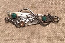 Vintage Navajo Native American Sterling Silver & Turquoise Arrow Pin