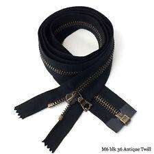 "RiRi Zipper m6, 1 Way Separating End Antique Brass Black 2110, Twill, Flach, 36"""