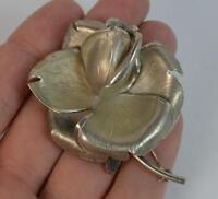 Realistically Formed Hallmarked Silver Rose Flower Brooch