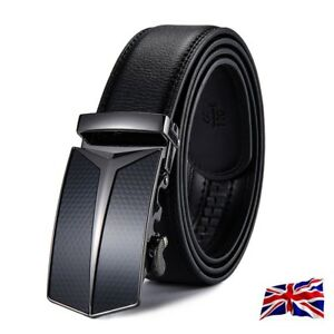 XHtang Fashion Men Automatic Buckle Belt Genuine Leather Ratchet Waistband Gift
