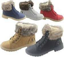Womens Ankle Boots Warm Winter Work High Top Desert Lace Up Shoes