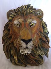 Wall Mount Resin Lion Head Plaque Decor Hand Painted