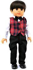 "White Shirt, Plaid Vest & Black Pants-Boy fits 18"" American Girl Doll Clothes"